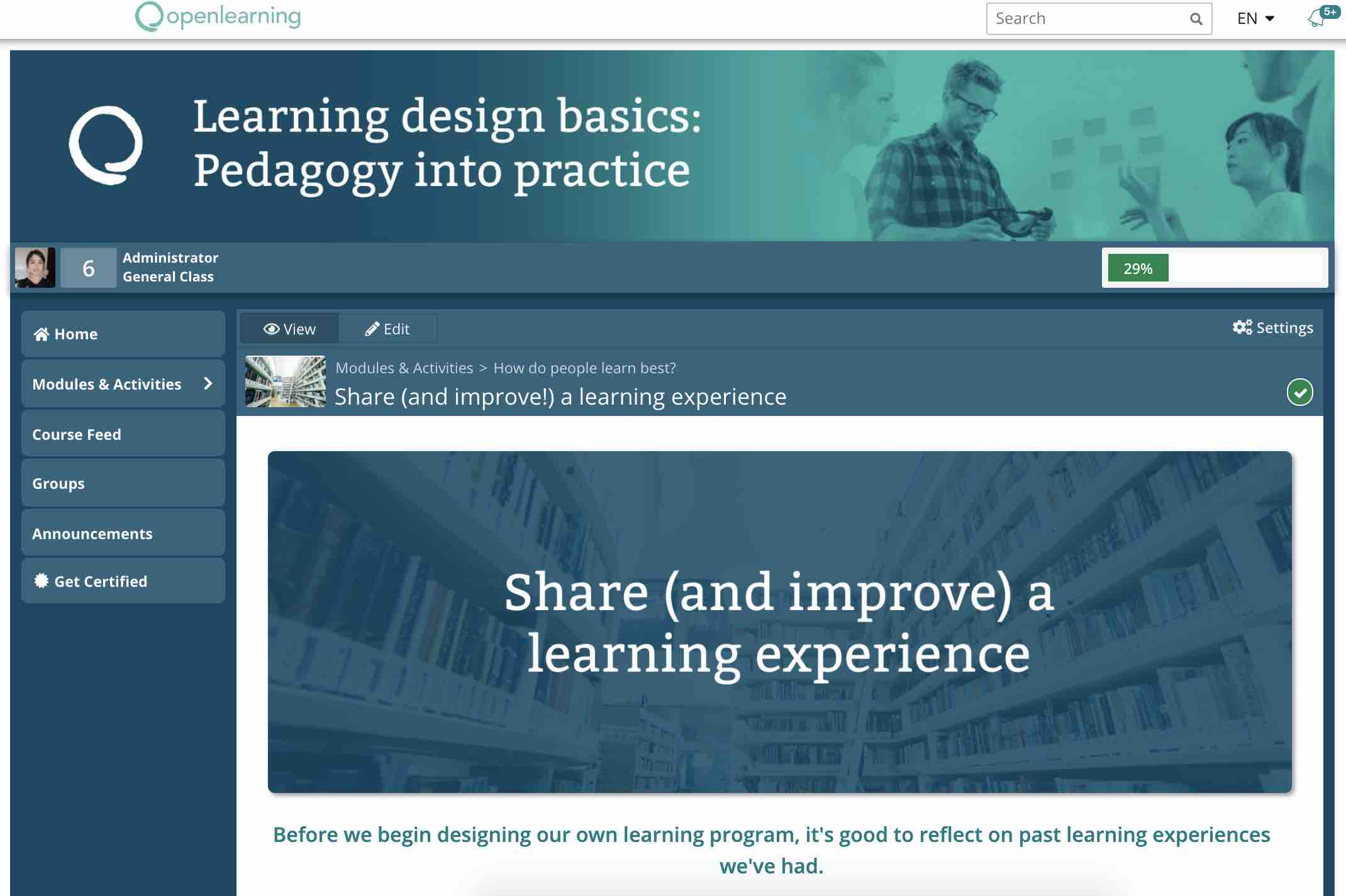 A screenshot from inside the Learning Design Basics course on OpenLearning