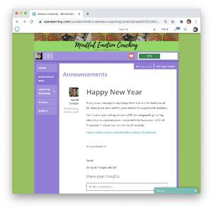 Mindful Emotion Announcements Page