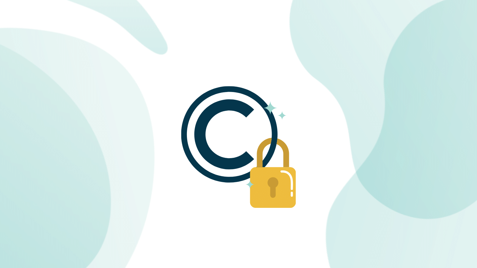 Dark navy copyright logo with a yellow padlock attached to the bottom right
